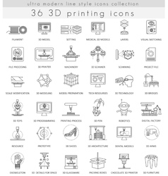 3D printing ultra modern outline line icons vector image