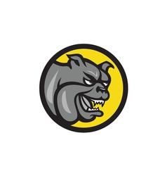 Angry bulldog head circle cartoon vector
