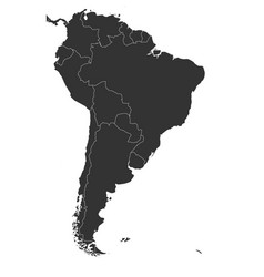 Blank political map of south america simple flat vector