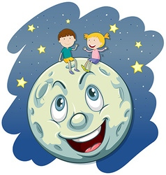 Boy and girl on the fullmoon vector image