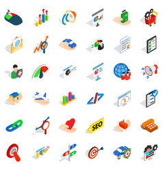 Business career icons set isometric style vector
