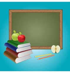 Chalkboard and books vector image vector image