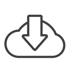 Cloud download line icon seo and website vector