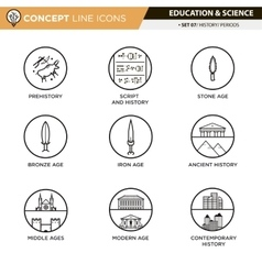 Concept Line Icons Set 7 History vector image