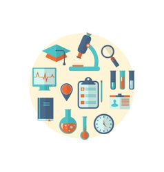 Concept of management medical science research set vector