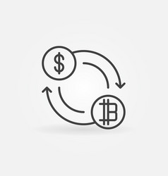 dollar to bitcoin exchange icon or symbol vector image vector image