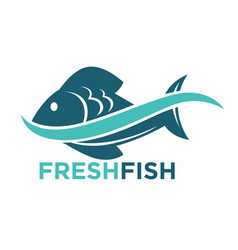 fresh fish logotype in blue color isolated on vector image vector image