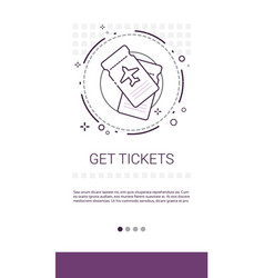 Get tickets online booking service banner vector
