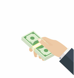 hand giving dollars stack payment transaction vector image vector image