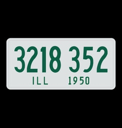 Illinois 1950 license plate vector