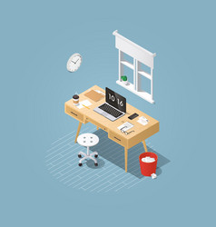 isometric home workplace vector image