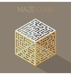 Isometric maze cube cage design concept vector