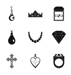 Jewelry icon set simple style vector
