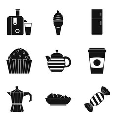 Office breakfast icons set simple style vector