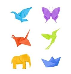Origami set multicolored vector