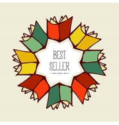Retro best seller book flower vector image vector image