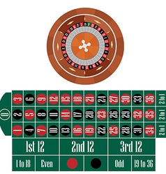 Roulette wheel and table vector