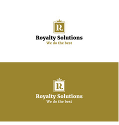 royal abstract r letter logo with crown vector image vector image