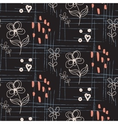 Rustic hand drawn flower seamless pattern vector image
