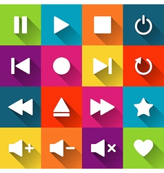 Simple media player icons on the colored tiles vector image vector image