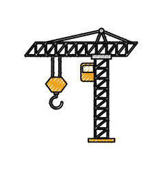tower construction crane cabin hook industrrial vector image