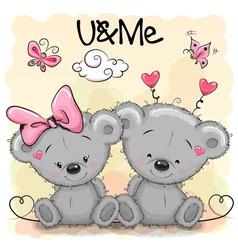Two cute bears vector