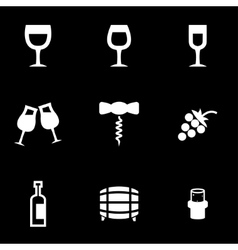 white wine icon set vector image vector image