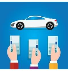 Car bidding auction hand offer money cash concept vector