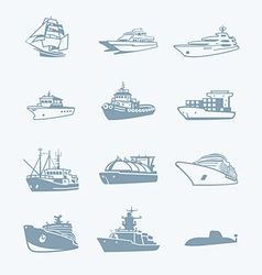 Marine traffic icons vector
