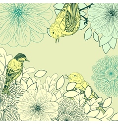 Vintage background with birds and flowers vector image
