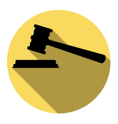 Justice hammer sign  flat black icon with vector