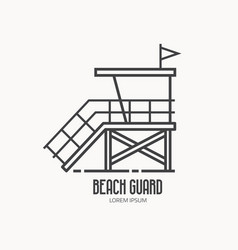 Beach guard logo template vector