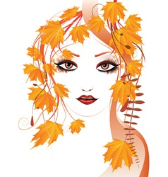 Autumn floral girl vector