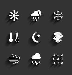 Weather icons in Flat Design Style vector image
