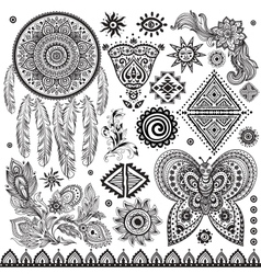 Tribal vintage ethnic pattern set vector