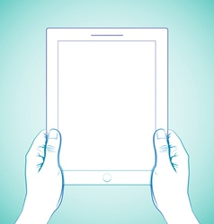2 Hand Holding Tablet vector image vector image