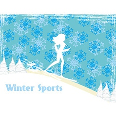 Slim girl skiing abstract card vector