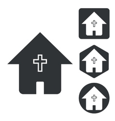 Christian house icon set monochrome vector