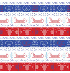Nordic christmas pattern with santas sleigh vector