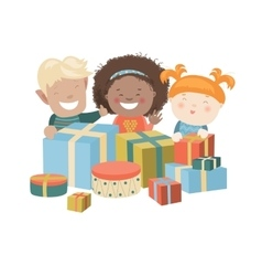 Kids opening christmas gifts vector