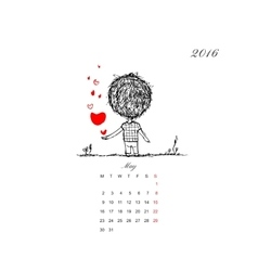 Calendar grid 2016 design couple in love together vector