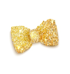 Golden sparkling glitter decorated bow trendy fash vector