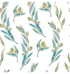 Watercolor green olive pattern olive branches vector