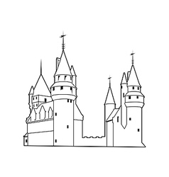 Old castle silhouette vector