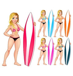 Surfer girl in different colors vector