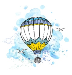 Air balloon flying in the sky vector