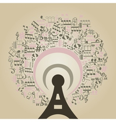Musical radio vector image