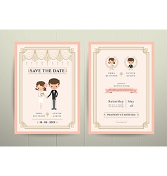 Art deco cartoon couple wedding invitation card vector