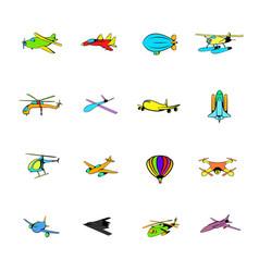 aviation icons set cartoon vector image