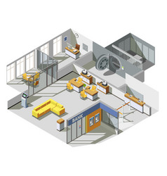 bank office interior isometric composition vector image